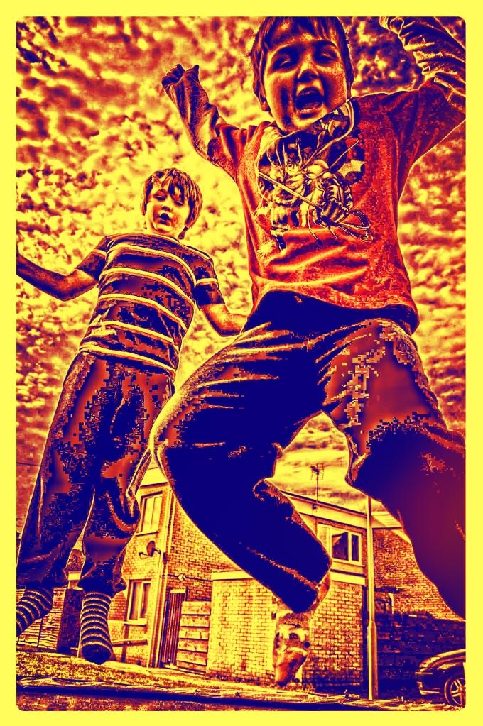 Oskar and Jasper on a trampoline. Porthcawl March 15th 2014