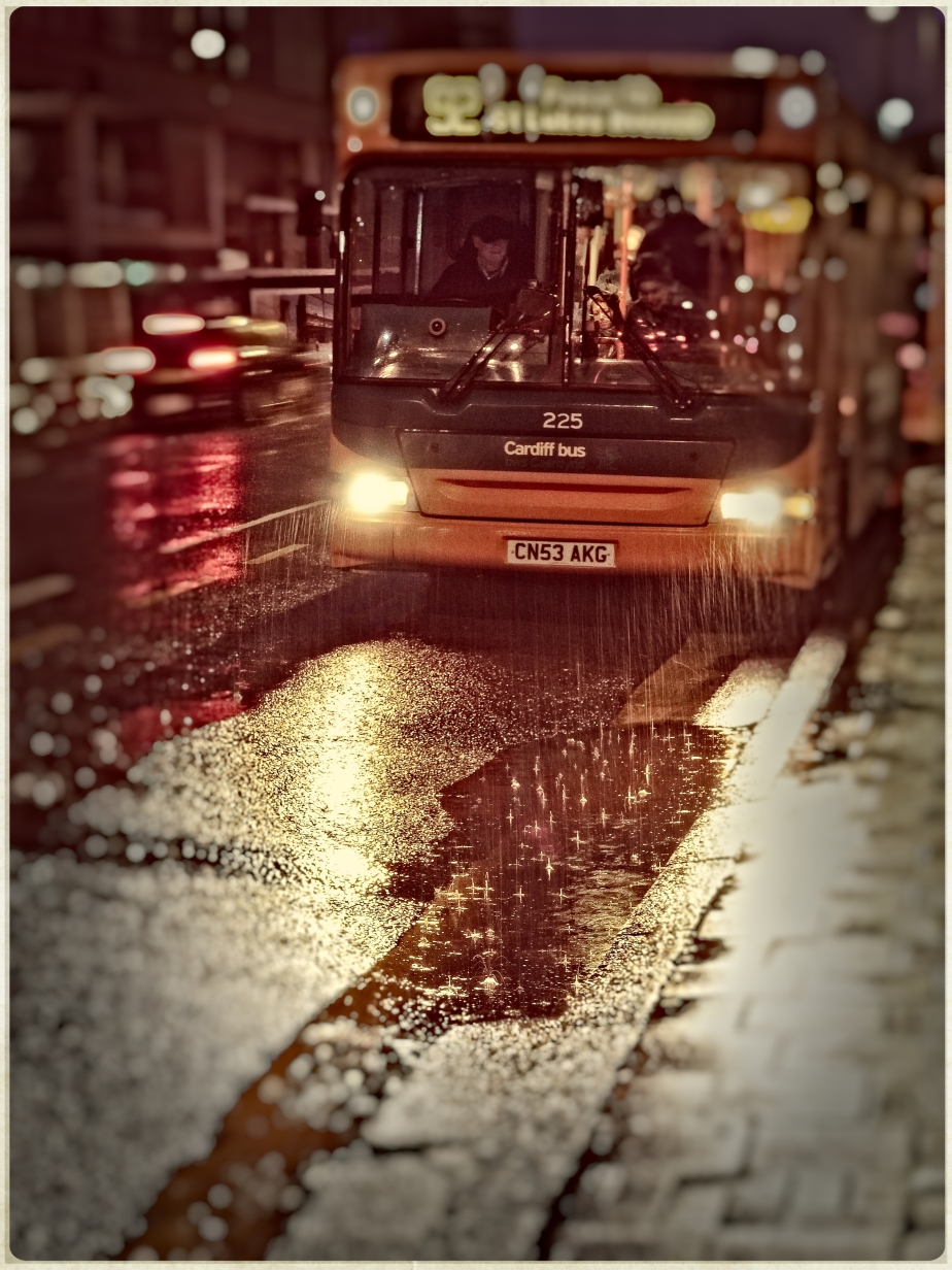Cardiff Bus in the rain